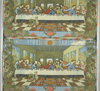 Three horizontal rectangles showing Christ and the twelve disciples (loosely after da Vinci) with symbolic motifs in the border. Multi-color.