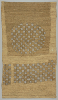 Very fine plain weave fabric with heavy supplementary wefts which are either continuous or discontinuous. Small squares of discontinuous supplementary wefts create dense areas in a checked arrangement with the sheer plain weave foundation forming a large circle above two rectangles. Two natural tones of heavy linen for supplementary wefts.