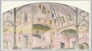 Drawing, Stage Design: Courtyard, for Baker Street