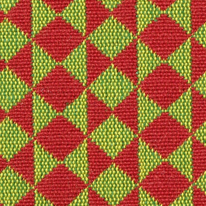 Double cloth in a red and light green striped pattern of diamonds and triangles. The red warps and red wefts intersect and appear as solid areas of color in the pattern while the yellow warps and green wefts intersect and appear as light green.