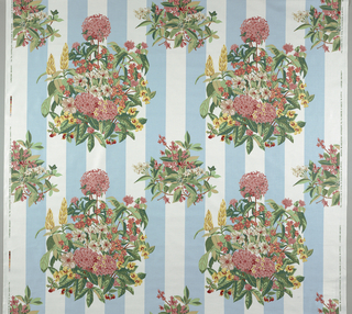 Bouquets of tropical flowers on a striped background. A. Multicolor on a blue and white stripes. b. Multicolor on pink and white stripes. Pattern is 135cm (53 1/4in.) wide leaving a marfin at both sides.