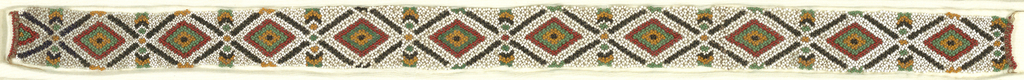 A band of repeating diamond pattern in beads of black, white, red, green and tan.