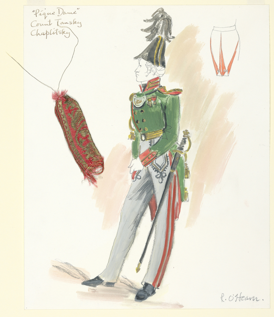 Vertical rectangle. Male figure in military attire, green coat with rust-colored trim. Sword on left hip. Upper right, detail of coat tails. Trimming sample attached.