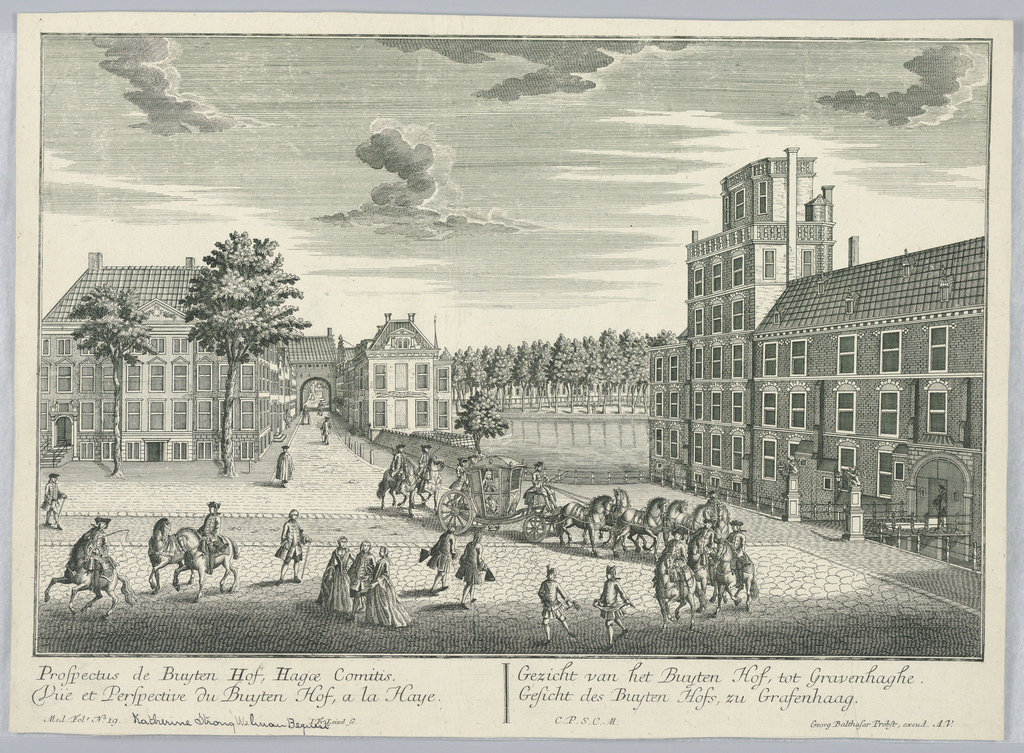 Print, Peep-show, View of the Buyten Hof in The Hague, 1732-1801