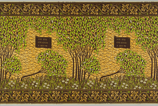 Trees surrounding an open field with a cartouche, with one tree falled across the field. Printed in brown, lime green, and ochre yellow on an off-white ground.