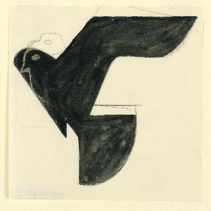 Likely a study for an Imperial Airways (now, British Airways) advertisement or logo. A flying eagle in black silhouette, facing left. The head is rendered twice over the silhouette, in brown outline.