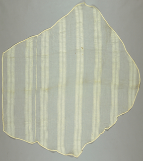 Roughly pentagonal-shaped pieces of thin white muslin with stripes of denser weave. Cotton tape hand-stitched all around the edges.
