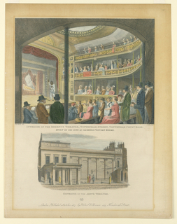 Print, Interior and Exterior Views of the Regency Theater, Tottenham Street, London, 1817