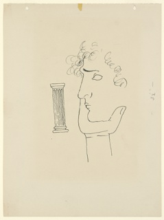 Study for an illustration for a 1946 edition of The Complete Poems and Stories of Edgar Allan Poe, published by Knopf in New York. This study was likely created for the criticism section of Volume II. At center, an abstracted head in left profile with curly hair, resting the chin in the palm of a hand. At left, in the background, a Doric column.