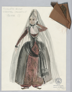 Vertical rectangle. Woman in full skirt and neck ruff veiled from head to foot. Two swatches attached.