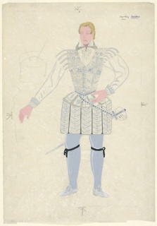 """Drawing, Costume Design: Lord Darnley, Second Dress, for """"Queen of Scots"""""""