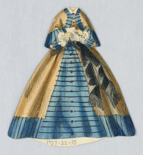 Blue and gold dress, blue has black striped pattern.  Dark brown sash comes down from the waist. Both sides of this paper doll outfit represented.
