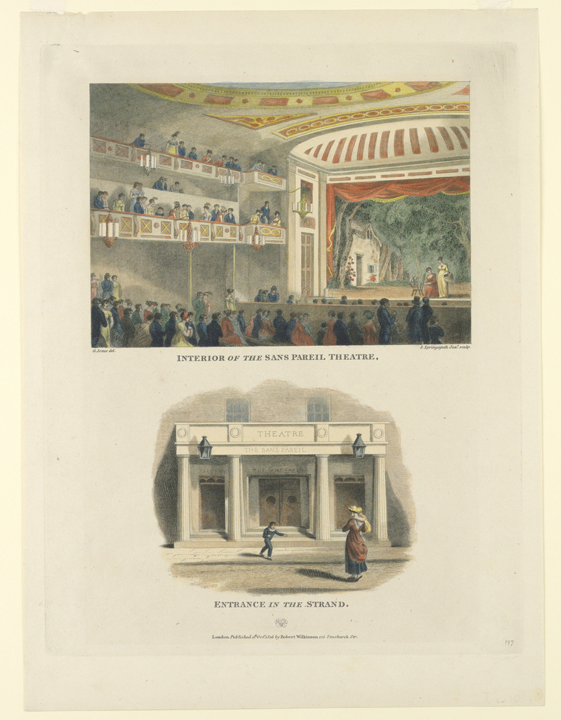 Print, Interior and Exterior Views of the Sans Pareil Theater, the Strand, London, 1816