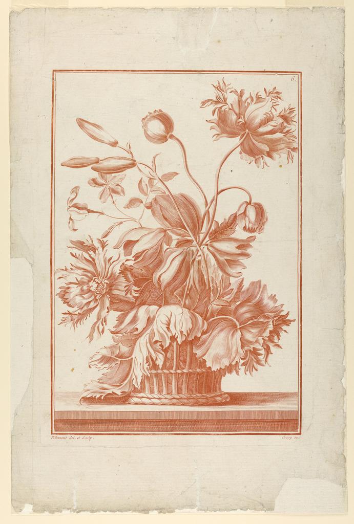 Print, Basket of Flowers, Plate