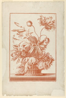 Print, Basket of Flowers, Plate, ca. 1760