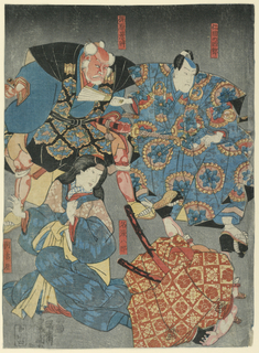 Print, Theatrical scene, probably from the Chushingura, ca. 1850