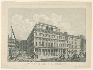 "Horizontal rectangle. The theater is shown from the right corner, frontally. In the foreground, at left, is a building plot. Caption: ""Mennier del Née sculp / Iere VUE DU THEATRE DE LA REPUBLIQUE / Depart. de la Seine No. 97"""