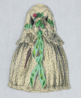 This cream-colored dress has a dotted pattern with emerald green bow accents.  The paper doll holds a parasol in her right hand. Both the back and front of this dress are depicted.