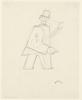 Standing figure, turned to the face the right with a watch on its side, wearing a top hat. The figure's head is replaced by a large eye. It holds a telescope up to its eye with a mechanical arm shaped like a spring.