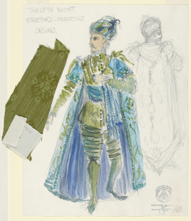 Vertical rectangle. Man, facing front, in green and blue toque and costume. Additional detail of rear view drawn in pencil to the right of the primary figure. Swatch of green fabric attached.