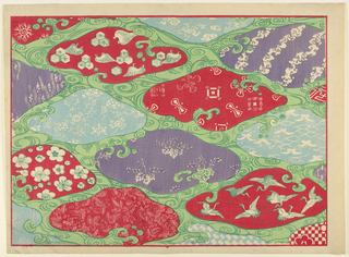 Print, Horizontal rectangle design: ovoid shapes, cranes and fanciful forms, 19th century