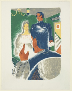 Illustration for a 1929 edition Arnold Bennett's book, Elsie and the Child. Two figures stand in front of a seated figure seen only from behind, in the foreground. The room in which they stand has green walls, and a chandelier hanging from the ceiling, at left. At right, an open doorway, through which stairs can be seen leading up. Above the door, a sign with blue lettering and illegible text.