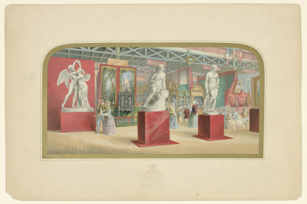 "Interior, The French Department; statuary:""sabrina,"" center; ""Psyche,"" left; ""A Nymph,"" right. Arched top mounted in gold border"