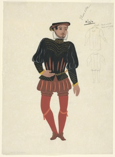 """Drawing, Costume Design: Rizzio, for """"Queen of Scots"""""""