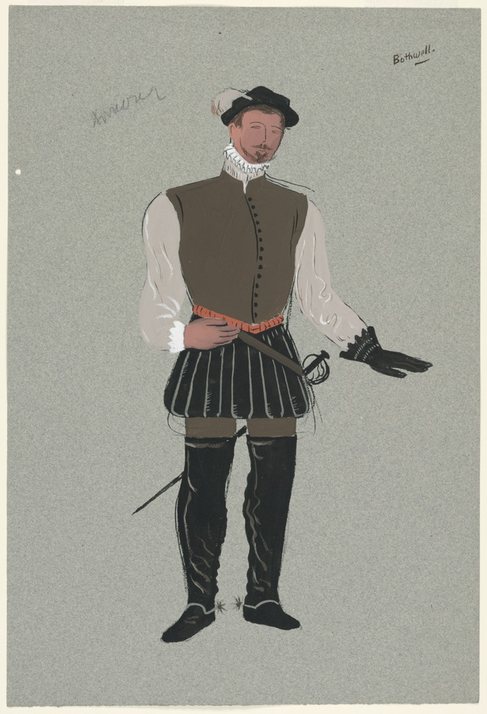 "Costume Design for Bothwell for John Gielgud's ""Queen of Scots"". Standing figure seen frontally wearing leather vest, black pantaloons, black boots, and a glove on one hand, and carrying a sword. Likely a variation on 1963-39-237, but with black pantaloons and boots."