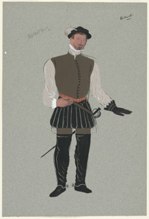 """Costume Design for Bothwell for John Gielgud's """"Queen of Scots"""". Standing figure seen frontally wearing leather vest, black pantaloons, black boots, and a glove on one hand, and carrying a sword. Likely a variation on 1963-39-237, but with black pantaloons and boots."""