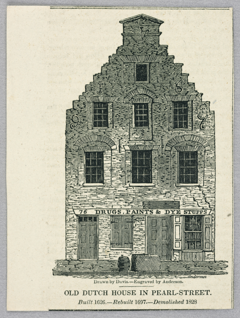 Old Dutch house Pearl Street, New York by Alexander Anderson (1775–1870) after Doirs Vertical rectangle: Facade of a stepped-roof building. Illustration for an unidentified publication (probobly The New York Mirror) Textural fragment on verso.