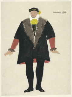 """Drawing, Costume Design: Lethington, for """"Queen of Scots"""""""