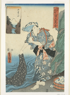 Woodblock Print, Woman washing fabric in a stream, 1857