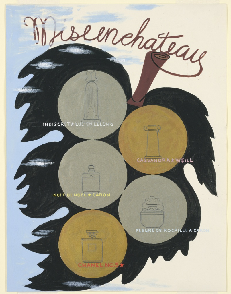 Design for perfume advertisement. The bottles are shown in outline on gold circular grounds on a black leaf. In the upper margin, in brown: Misenchateau; each bottle is named, upper left, in white: INDISCRET[star]LUCIEN LELONG; right, in pink: CASSANDRA[star]WEILL; left, in yellow: NUIT DE NOEL[star]CARON; right, in light blue: FLEURS DE ROCAILLE[star]CARON; left, in red: CHANEL NO. 5[star].