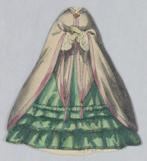Paper doll costumed in a mid-19th century period dress with a full green skirt with ruffled edging and pink cloak with a darker pink satin trim.