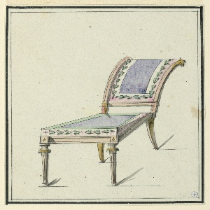 Side chair, elongated seat upholstered in purple, bordered with leaf motifs on pink and white stripe. Sloped back, suggesting a reclining chair, upholstered to match the seat.