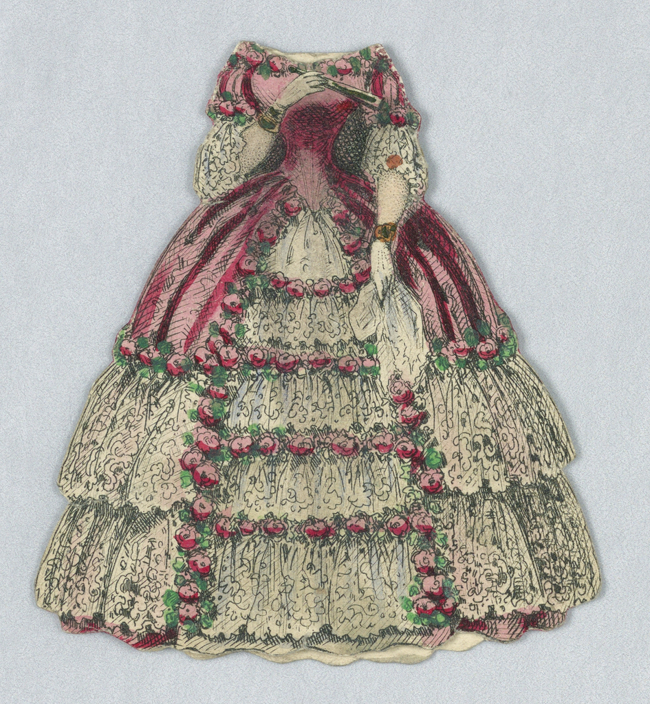 Dark pink outer layer of dress splits in center, revealing lighter pink ruffles.  Roses line dark pink shell and neckline, and rows of flowers on front. Three tiers of ruffles in skirt. Doll holds handkerchief in one hand an a fan daintily in the other.  Both back and front of dress represented.