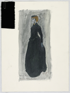 Vertical format. Figure of a veiled woman in black with reddish hair wearing a long, full dress. Swatch of black velvet attached at upper left.