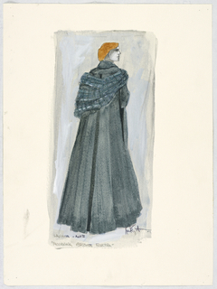 Vertical rectangle. Female figure, rear view, wearing long cloak and plaid scarf.