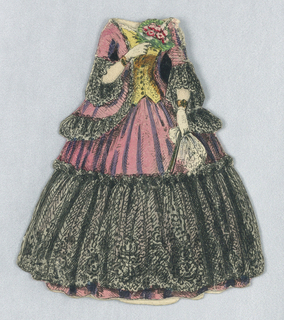 Pink shell with black lace trim and yellow bodice. Doll holds bouquet of roses in her right hand, and a handkerchief in her left.  Both back and front of dress are represented.