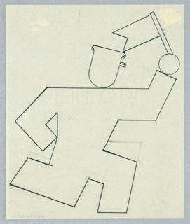 "Study of a figure for the ""August Bank Holiday"" poster for the London Transport. A running figure, shown abstractly in outline, wearing a cap with a small visor, and carrying a small pennant."