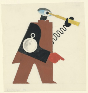 Standing figure in brown and black, turned to the face the right with a pocket watch on its side. The figure's head is replaced by a large blue eye. It holds a yellow telescope up to its eye with a mechanical arm shaped like a spring.