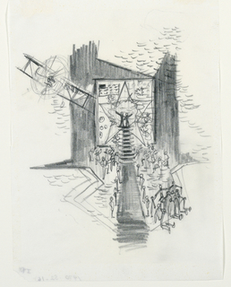 Vertical rectangle. Finale. A set for a thrust stage with airlane, upper left; framed star and American flag at rear. Two figures stand atop a staircase surrounded by numerous other figures.