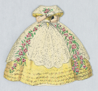 Yellow dress with white lace top layer.  Pink rose garlands cascade down either side of her gown.  Both back and front of dress represented for this paper doll outfit.