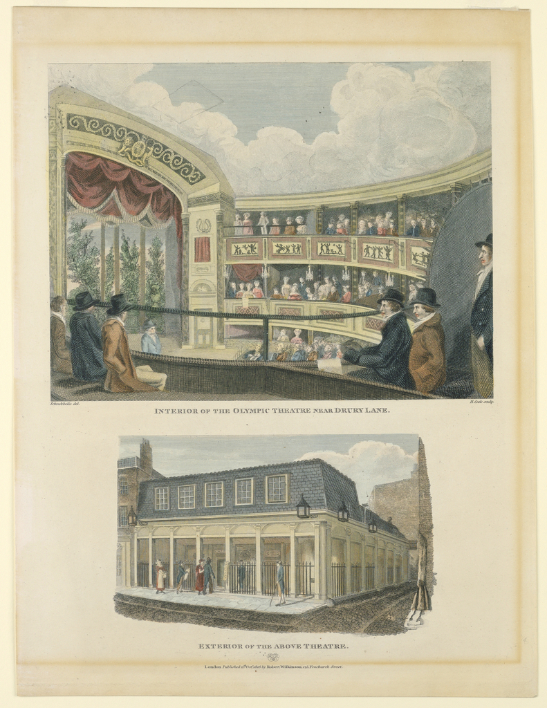 Print, Interior and Exterior of the Olympic Theater, Near Drury Lane, London, 1816