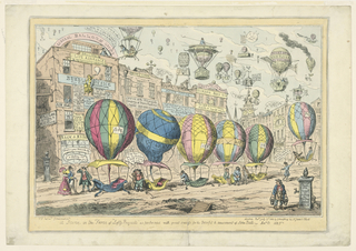 A London street scene, with six balloons about to ascend to join a host of others. Numerous explanatory captions. Below, title, artist's and publisher's names and the date.