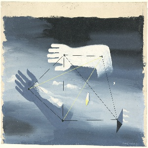 """Design for the backdrop used during the Prologue of """"Checkmate"""". Design showing two disembodied hands and arms, one gray, one white floating horizontally in a blue and black sky. Connecting the two arms are a series of black and yellow lines, each terminating at a black dot on the arms. At center, a small gray and white rhombus."""
