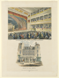 Print, Interior and Exterior of the Little Theater, Haymarket, London, 1815