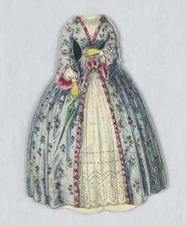This blue dress has a flower pattern and is lined with pink. At the front, the blue layer splits to reveal the lace beneath. Both the back and front of this dress are depicted.