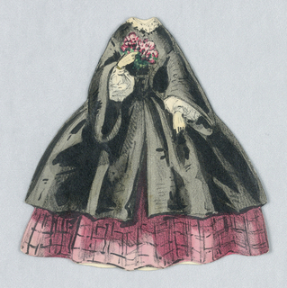 This ensemble consists of a black outer layer with a white lace collar and inner sleeves, over a pink, checked full skirt. She holds a bouquet of flowers in her right  hand. Both back and front of the outfit is represented.